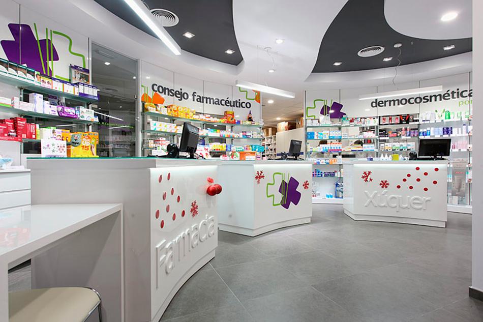 Dise o y venta de mostradores personalizados y mobiliario for Decoracion de farmacias